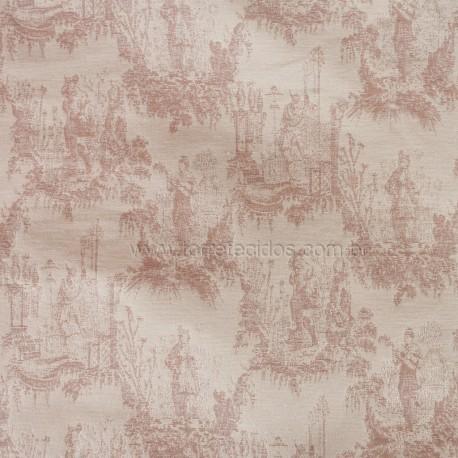 tecido jacquard toile de jouy rose torre vermelha decor. Black Bedroom Furniture Sets. Home Design Ideas