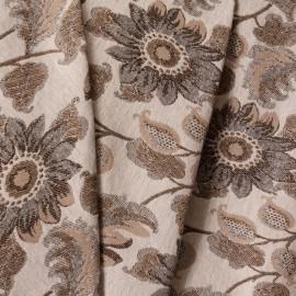Tecido Jacquard Floral Cru/Dourado