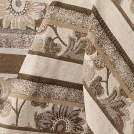 Tecido Jacquard Listrado Flores Cru/ Dourado