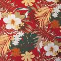 Tecido Sarja Açucena Estampada Vermelho/Amarela