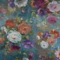 Tecido Veludo Vellus Floral ll Azul