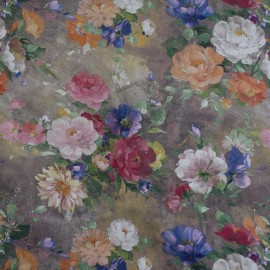 Tecido Veludo Vellus Floral Marron