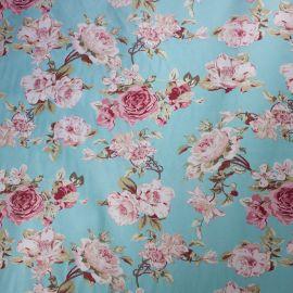 Tecido Sarja Floral Rosa Seco