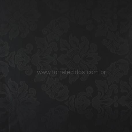 Tecido Jacquard  2,80 Medalhão Preto