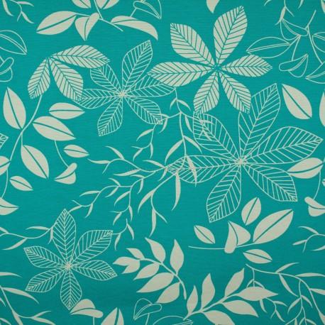 Gorgurão Waterblock Floral Azul Tiffany 1,40m
