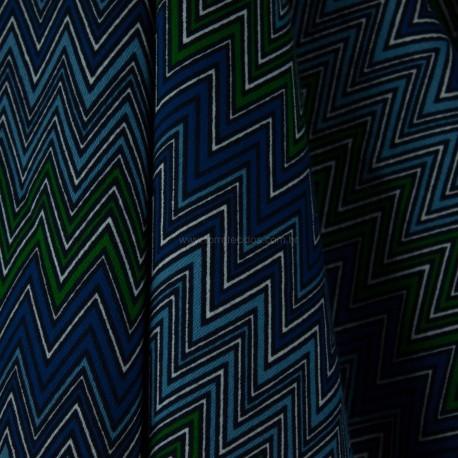 Algodão Estampado Etnico Verde/Azul