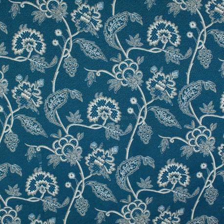 Tecido Jacquard Flores Tubique Azul