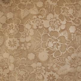 Tecido Veludo Calandrado Floral Bege