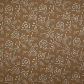 Tecido Jacquard Floral Tubique Bege Amarelado
