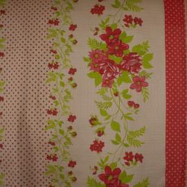 Tecido Tela P/ Forro de Mesa Est. Floral Vermelho