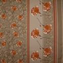 Tecido Tela P/ Forro de Mesa Est. Floral Laranja