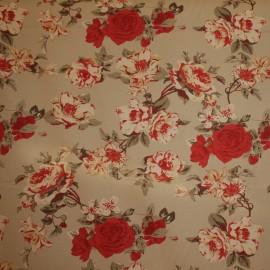 Tecido Sarja Floral Vermelho