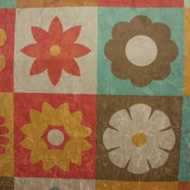Tecido Suede Amassada Floral em Quadros