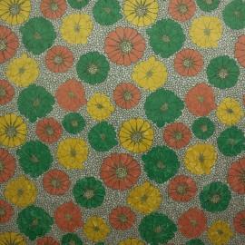 Tecido Suede Amassada Floral Verde e Laranja