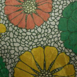 Suede Amassada Floral Verde e Laranja