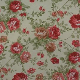 Tecido Gorgurão Belize Floral Crú/Vermelho