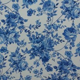 Tecido Gorgurão Belize Floral Branco/Azul