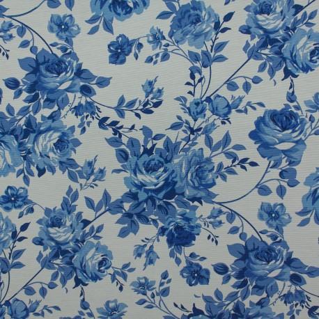 Gorgurão Belize Floral Branco/Azul