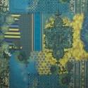 Tecido Linho Misto Persa Azul/Amarelo