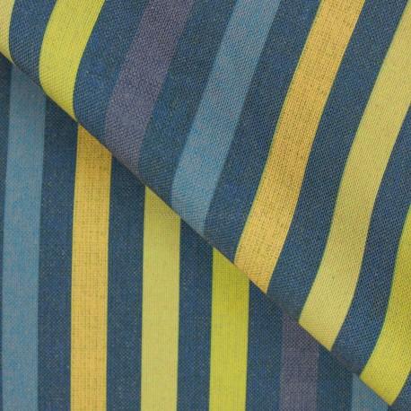Linho Misto Listras Azul/Amarelo