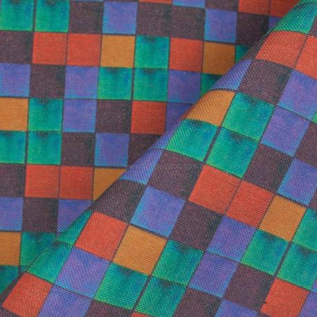 Linho Misto Quadriculado Tiffany/Lilás