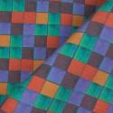 Tecido Linho Misto Quadriculado Tiffany/Lilás