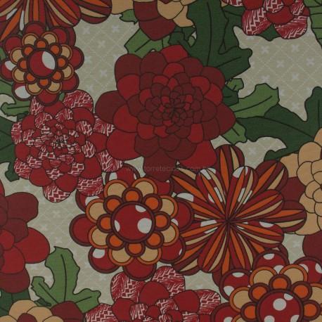Gorgurão Waterblock Crisantemo Vermelho
