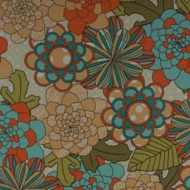 Tecido Gorgurão Waterblock Crisantemo Azul/Laranja