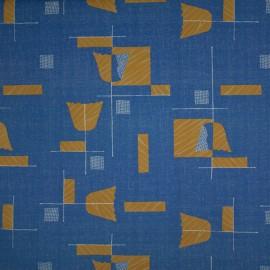 Tecido Gorgurão Est. Azul/Mostarda