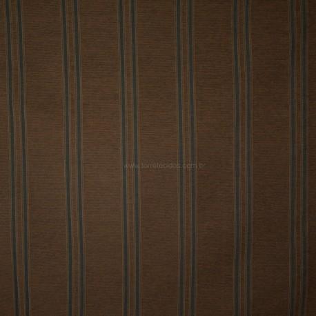 Tecido Chenille Listrado Marrom/Azul