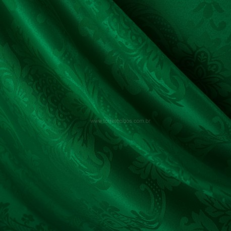 Tecido Jacquard Adamascado Monarca Verde Esmeralda