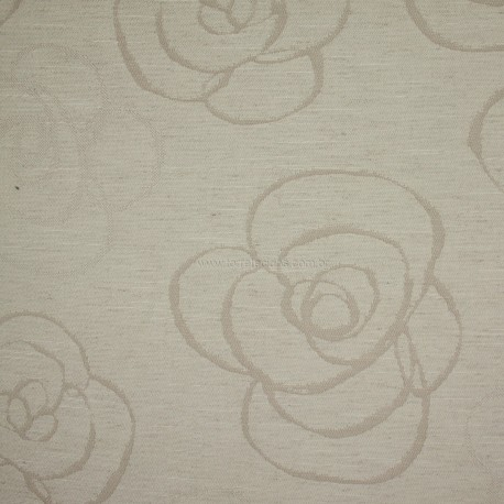 Tecido Jacquard Inglês Floral Crú com Bege