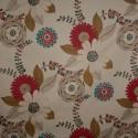 Tecido Veludo Floral Bege/Vermelho