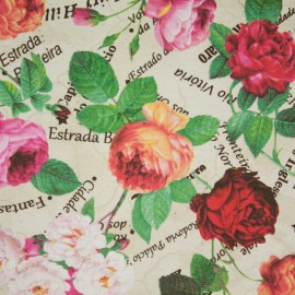 Tecido Gorgurão Rosas