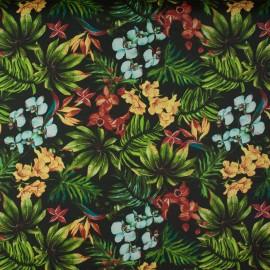 Tecido Gorgurão Waterblock Orquídeas Preto