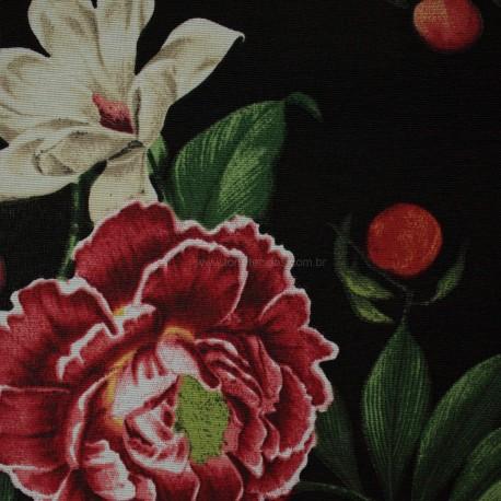 Gorgurão Belize Flores Tropicais Preto
