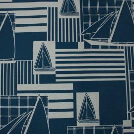 Tecido Gorgurão Waterblock Barcos Azul