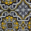 Tecido Jacquard Marble Azulejo Marinho/Amarelo