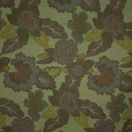 Tecido Gobelém Floral Verde
