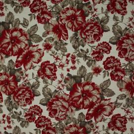 Tecido Gorgurão Belize Floral Cheio Vermelho
