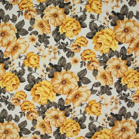 Tecido Gorgurão Belize Floral Cheio Amarelo