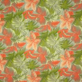 Tecido Gorgurão Belize Folhas Laranja/Verde