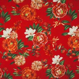 Tecido Gorgurão Belize Flores Tropicais Vermelho