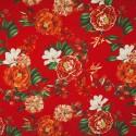 Tecido Gorgurão Belize Flores Tropicais Vermelha
