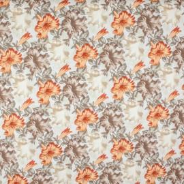 Tecido Gorgurão Belize Floral Hibisco Marrom