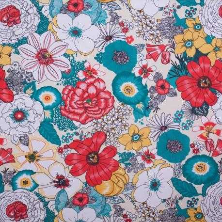 Tecido Gorgurão Waterblock Diversidade De Flores
