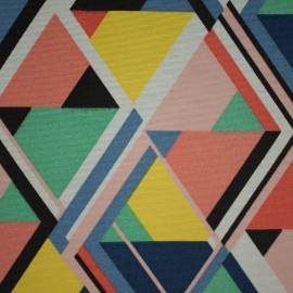 Tecido Gorgurão Waterblock Geometrico Triangulo Azul