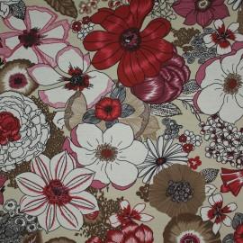 Tecido Gorgurão Waterblock Diversidades de Flores Roxo/Vermelho