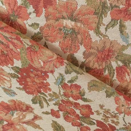 Tecido Gobelem Pixel Floral Crú Pequeno