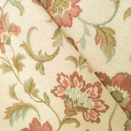Tecido Gobelem Pixel Floral Crú